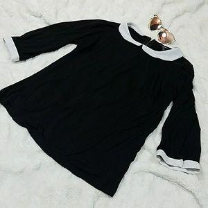 Forever 21 Pan collar Shirt Black & White 3/4